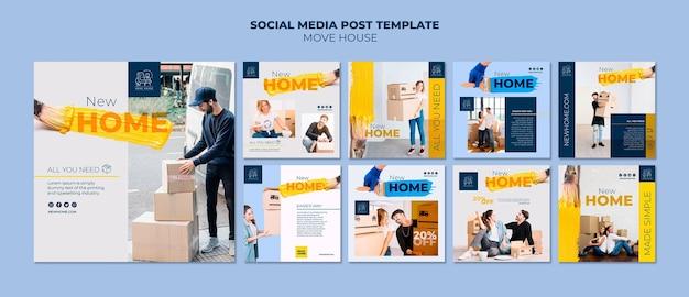Colección de publicaciones de instagram para servicios de reubicación de viviendas
