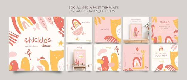 Colección de publicaciones de instagram para tienda de decoración de interiores para niños