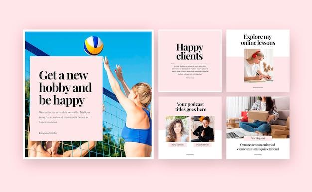 Colección de publicaciones de instagram para trabajos comerciales independientes