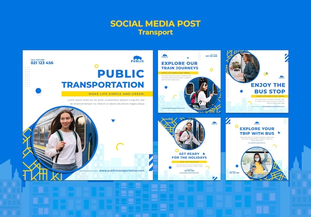 Colección de publicaciones de instagram para el transporte público con una mujer que viaja al trabajo