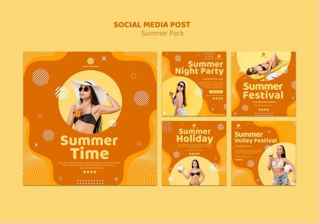 Colección de publicaciones de instagram para vacaciones de verano