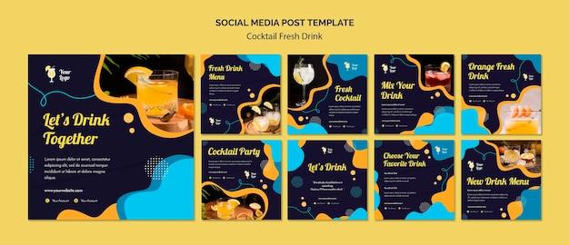 Colección de publicaciones de instagram para variedad de cócteles