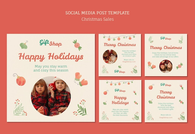 Colección de publicaciones de instagram para venta navideña con niños