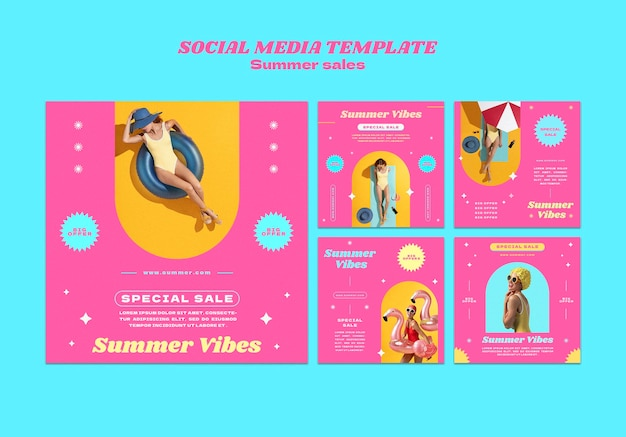 Colección de publicaciones de instagram para la venta de verano