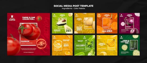 Colección de publicaciones de instagram con verduras y frutas vibrantes