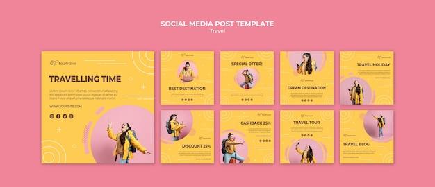 Colección de publicaciones de instagram para viajar