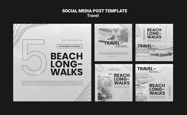 Colección de publicaciones monocromáticas de instagram para relajantes caminatas en la playa