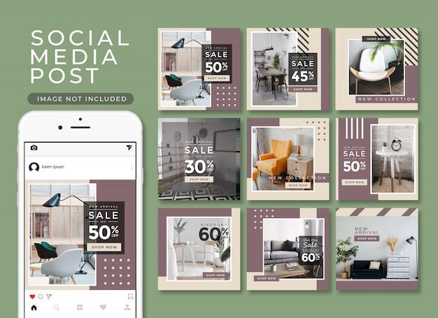 Colección de publicaciones de muebles modernos para instagram