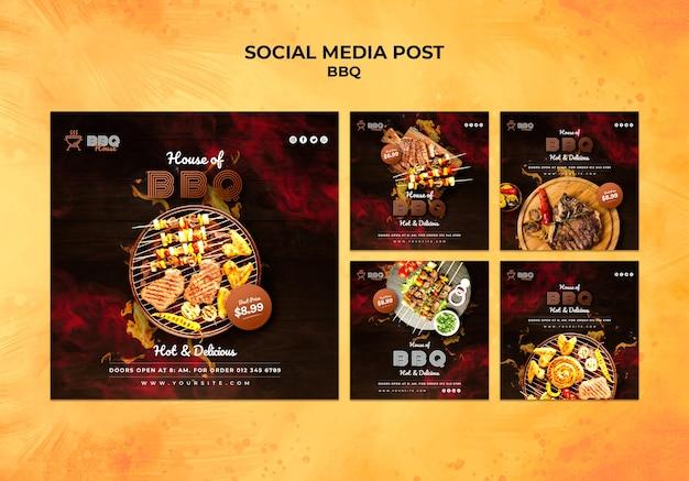 Colección de publicaciones de redes sociales para barbacoa