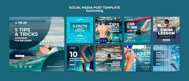 Colección de publicaciones en redes sociales para clases de natación