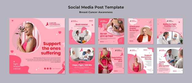 Colección de publicaciones en redes sociales de concientización sobre el cáncer de mama