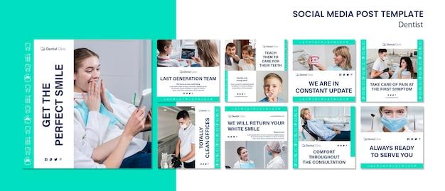 Colección de publicaciones de redes sociales de dentista