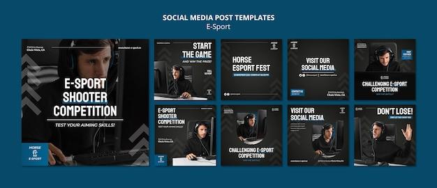 Colección de publicaciones en redes sociales de deportes electrónicos