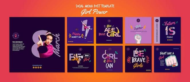 Colección de publicaciones en redes sociales para el día de la mujer