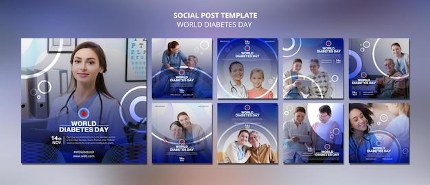 Colección de publicaciones en redes sociales del día mundial de la diabetes
