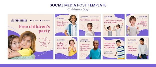 Colección de publicaciones en redes sociales del día del niño lindo