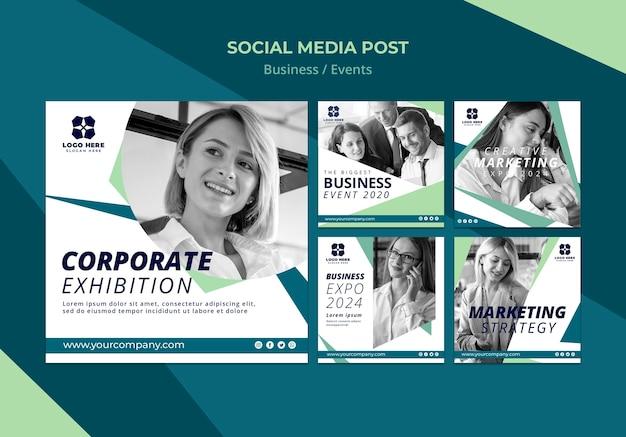 Colección de publicaciones en redes sociales para expo de negocios