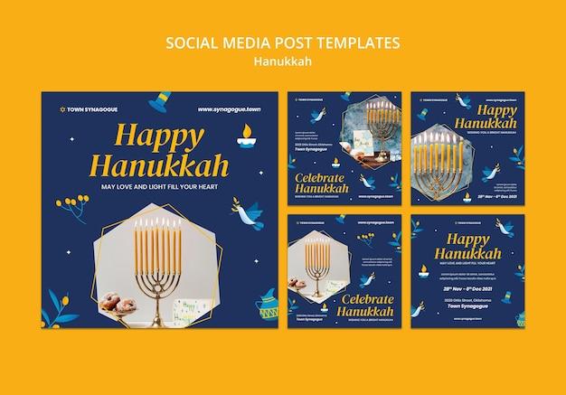 Colección de publicaciones de redes sociales festivas de hanukkah