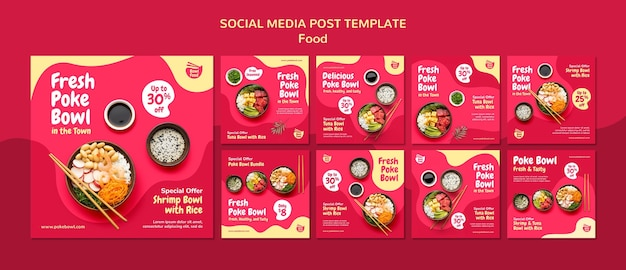 Colección de publicaciones de redes sociales de fresh poke bowl