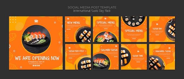 Colección de publicaciones en redes sociales de instagram para restaurante de sushi