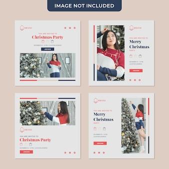 Colección de publicaciones en redes sociales para invitación de navidad