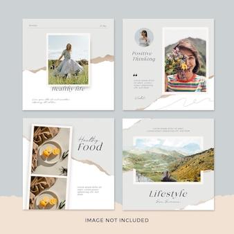 Colección de publicaciones de redes sociales de la naturaleza
