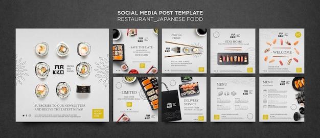Colección de publicaciones de redes sociales de restaurantes de sushi.