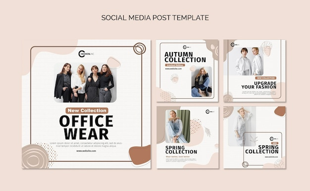 Colección de publicaciones de redes sociales de ropa de oficina