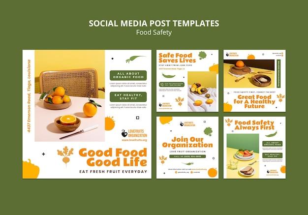 Colección de publicaciones en redes sociales sobre seguridad alimentaria