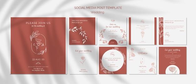 Colección simple y elegante de publicaciones de instagram para bodas