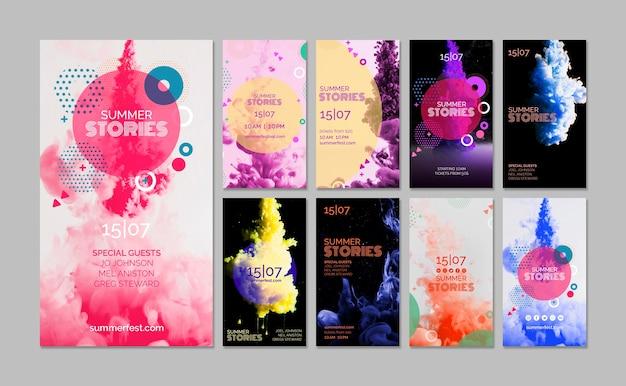 Colección de stories de instagram para festival de verano