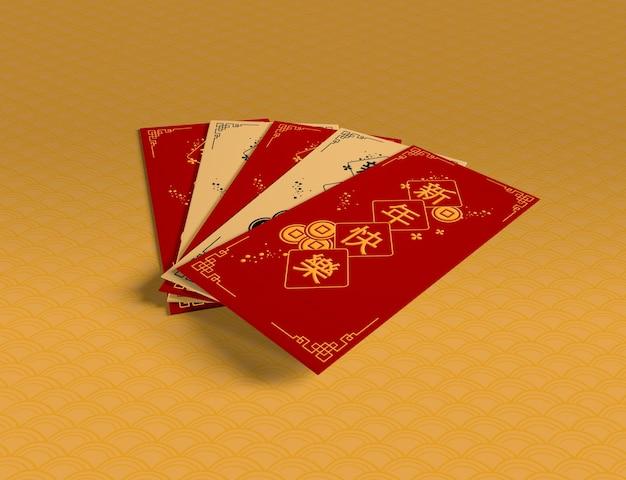Colección de tarjetas de felicitación de año nuevo chino
