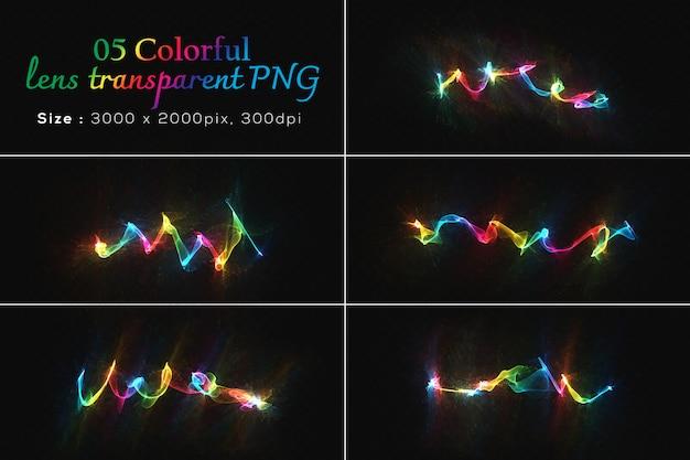 Colección transparente de lentes de colores