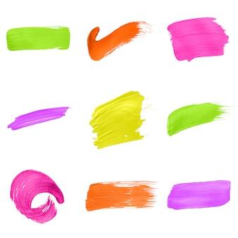 Colección de trazos de pincel multicolor