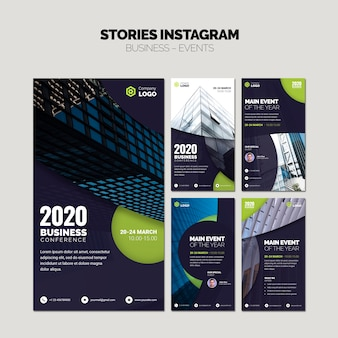 Collage di storie di instagram di modelli di business