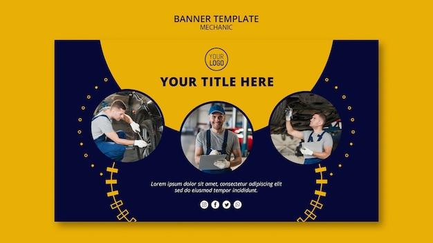 Collage de negocios mecánico de banner de hombres trabajadores