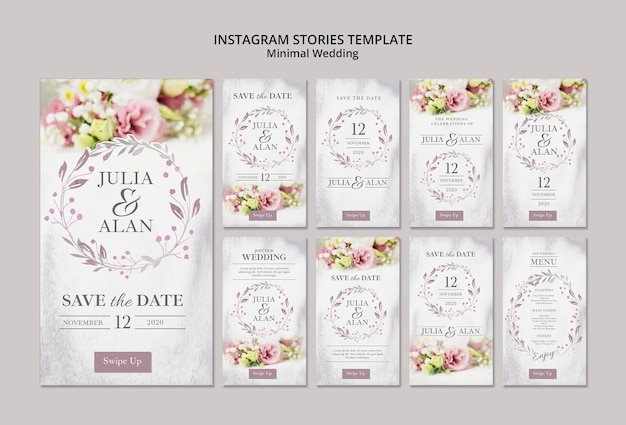 Collage de plantilla de historias de instagram de boda minimalista floral