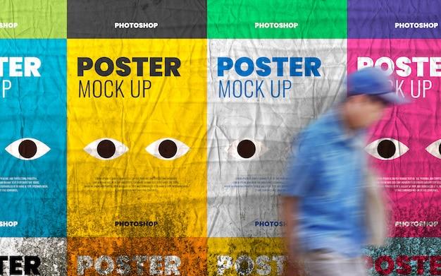 Collage poster mockup op realistische grunge muur
