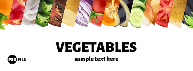 Collage van groente op witte achtergrond met exemplaarruimte die wordt geïsoleerd