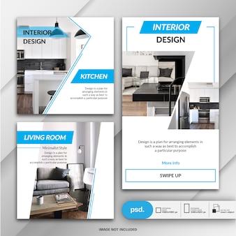 Collezione di banner di design d'interni