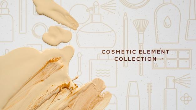 Collezione di elementi cosmetici con fondotinta