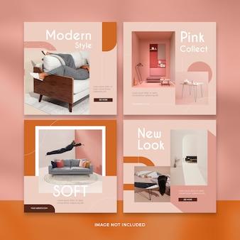 Collezione di modelli di mobili moderni social media post