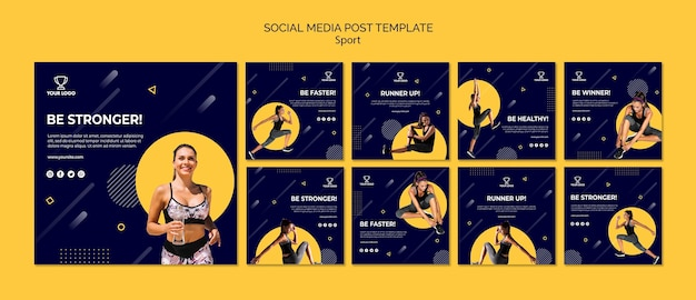 Collezione di modelli post sport social media