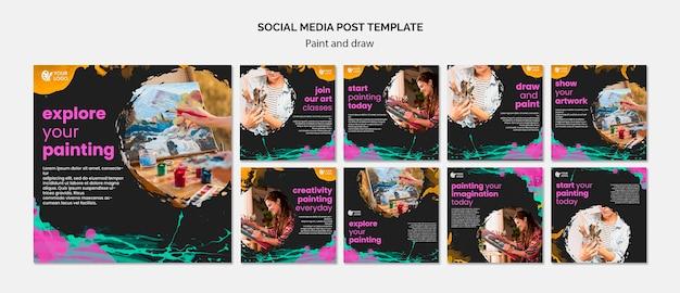 Collezione di post su instagram per artisti di disegno e pittura