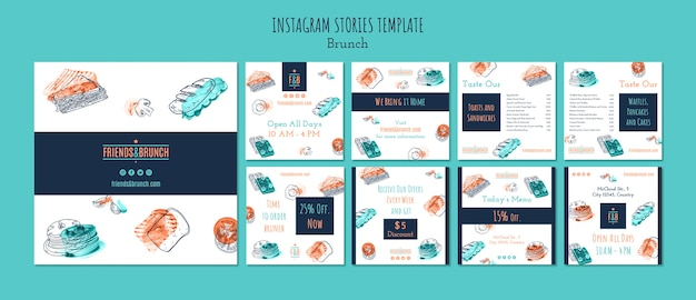 Collezione di post su instagram per il ristorante del brunch
