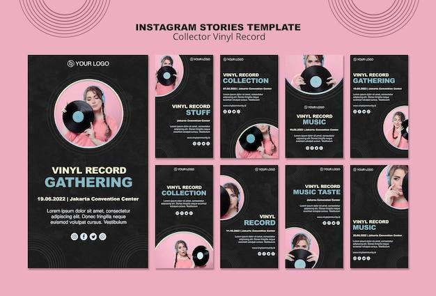 Collezione di storie su instagram di dischi in vinile