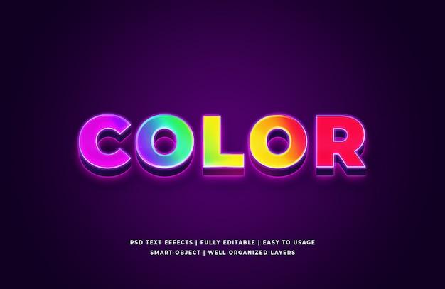Color 3d texto estilo efecto premium psd