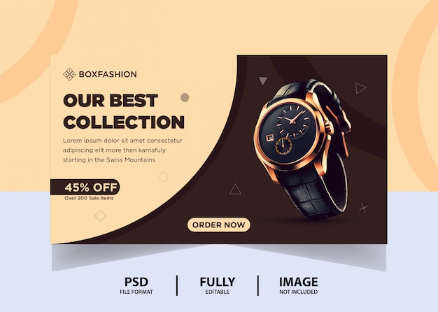 Color chocolate reloj producto web banner design