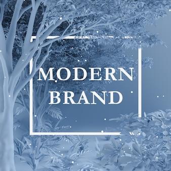 Color de diseño creativo azul hecho de árboles y plantas con nota de tarjeta de papel. concepto de la naturaleza