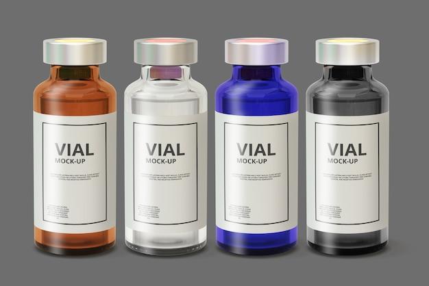 Color glass medicine vial mockup